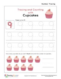 Tracing and Counting with Cupcakes. Tracing and counting number 9 worksheet. For more free worksheets visit us at TeachySheets.com