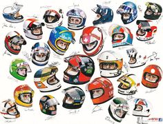 Helmets of the Formula 1 drivers 1975