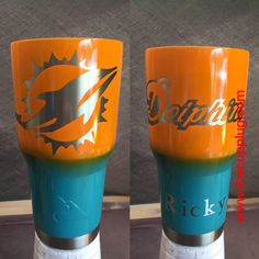 Custom Powder Coated Cups Miami Dolphins by TheCupPlugStore on Etsy