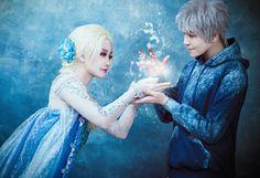 Queen Elsa And Jack Frost Cosplay