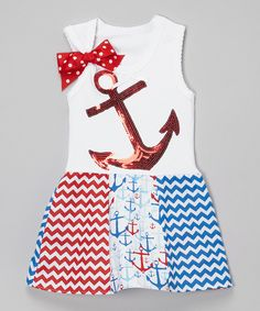 Look at this White & Red Anchor Dress - Infant, Toddler & Girls on #zulily today!