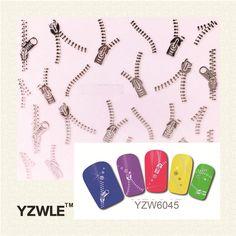 YZWLE 1 Sheets Fashion 3D DIY Silver Zipper Design Nail Art Sticker&Decal Manicure Nail Tools