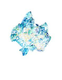 Aqua Aura Quartz Print by blousesandhouses on Etsy