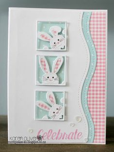Frantic Stamper Precision Die - Peeking Bunny Squares made Easter cards Peeking Bunny Squares Greeting Cards Handmade, Handmade Easter Cards, Easter Greeting Cards, Creative Cards, Kids Cards, Scrapbook Cards, Scrapbooking Ideas, Easter Crafts, Homemade Cards