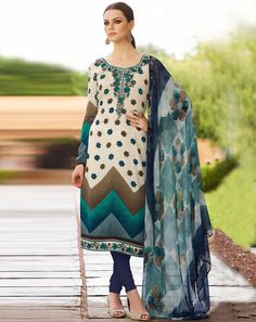 Buy Top: Cream; Bottom: Blue; Dupatta: Multi Cream French Crepe Unstitched Suit for women Online  At Flash Sale | Styletag, India