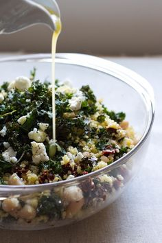 millet salad with sun-dried tomatoes, kale, and beans #vegan
