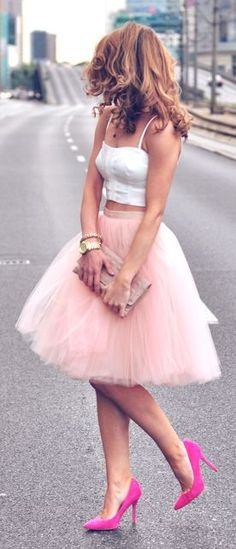 don't care for the top but love the tulle skirt and the pink shoes