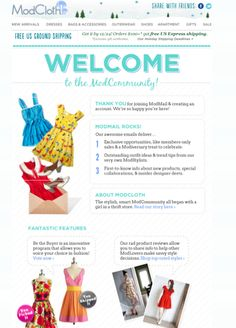 Mod cloth welcome email