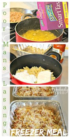Freezer - Poor Man's Lasagna ounces penne pasta 1 pound ground beef or ground turkey Italian seasoning (optional) 16 ounces cottage cheese 8 ounces cream cheese, softened 1 jar red pasta sauce ounces) 1 cups shredded cheese Cheap Easy Meals, Cheap Dinners, Frugal Meals, Budget Meals, Easy Dinners, Cheap Food, Frugal Recipes, Inexpensive Meals, Make Ahead Meals