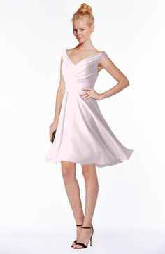 Blush Classic Fit-n-Flare Zip up Chiffon Knee Length Ruching Bridesmaid Dresses
