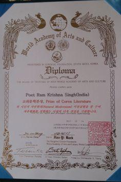 R.K. Singh Awarded Prize of Corea Literature, 2013