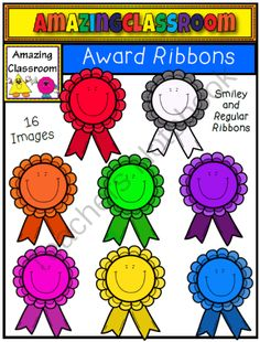 (FREE) Smiley Award Ribbons from AmazingClassroom on TeachersNotebook.com -  (16 pages)  - These award ribbons would be great to spruce up your end-of-the-year awards or certificates. You could even print them out and laminate to hand out as individual ribbons to the students.