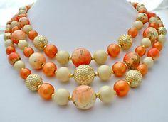 Vintage Orange Graduated Bead Necklace Hong Kong Multi 3 Strand Coral Lucite | eBay
