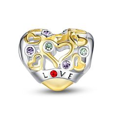 Glamulet Heart Openwork Charms Golden 925 Sterling Silver Fits for Pandora Bracelet Ideal Gifts -- Find out more about the great product at the image link.