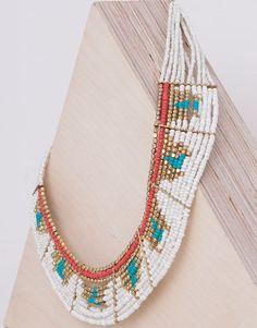 Pull&Bear - woman - jewellery - beaded flat necklace - ecru - 05993315-I2015