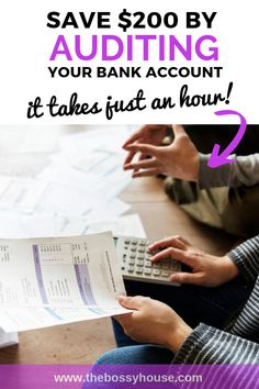 Save $200 by giving your bank account a simple audit. Find unwanted charges, subscriptions you should cancel, and services you no longer need. Visit www.thebossyhouse.com for more resources for in-charge types like you. #financialplanning #audit