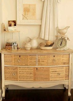 Decoupage a beautiful chest of drawers with old sheet music, coat with clear varnish and admire . Sheet Music Decor, Old Sheet Music, Music Sheets, Furniture Projects, Furniture Makeover, Diy Furniture, Music Furniture, Antique Furniture, Furniture Buyers