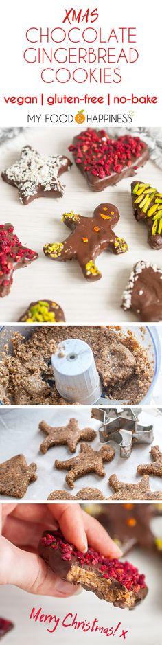 No-bake Sweet and flavourful Vegan & Gluten-free Christmas Chocolate Gingerbread cookies!!! No baking required and there is no added sugar in the recipe. These cookies are also decorated with naturally colourful healthy decorations so you really get the perfect wholesome Christmas cookies! Read about all 5 natural cookie decoration ideas.