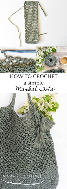 """How To Crochet A Market Tote """"Palmetto Tote Pattern"""" via @MamaInAStitch This beginner friendly crochet pattern is so pretty and easy to follow! There's a picture tutorial as well.  You'll even find links to stitch pattern videos. #mamainastitch #crochet #freepattern #beginner #markettote #farmersmarket #summer #freevideo"""