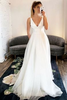 White Lace Wedding Dress, Wedding Dress With Pockets, V Neck Wedding Dress, Amazing Wedding Dress, Long Wedding Dresses, Cheap Wedding Dress, Bridal Dresses, Prom Dresses, Simply Wedding Dress