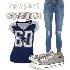 Cowboys Outfit by odonata21 on Polyvore featuring Frame Denim, Converse, DallasCowboys and keepcollective  keep-collective.com/with/emilyyanez