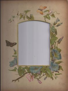 Lovely Floral Chromolithograph Page from Victorian Album, Morning Glories
