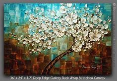 URSPRÜNGLICHEN Baum Malerei abstrakt Kirschblüte von ModernHouseArt