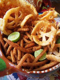 Botanas and Antojitos! My Favorite Mexican Snacks! Mexican Fruit Cups, Mexican Snacks, Mexican Food Recipes, Snack Recipes, Ethnic Recipes, Mexican Chips, Mexican Drinks, Mexican Candy, Food Porn