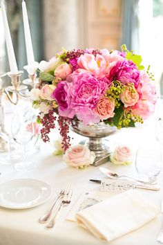Elegant Pink And Green Wedding Centerpiece