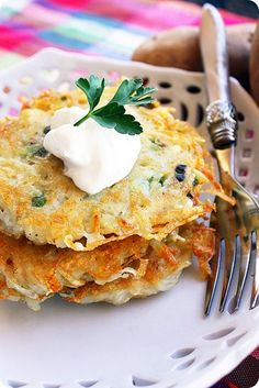 Potato Pancakes:  These savory pancakes are so simple and quick, and they're as delicious with a dollop of sour cream as they are with a plate of eggs and bacon. To serve four people, just peel and grate about four potatoes and mix with an egg white, scallions, salt and pepper. Place them in a hot pan with some oil, and press down firmly to get them golden brown and crispy.