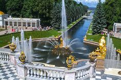 Grand Cascade in Peterhof near Saint-Petersburg, Russia Travel Around The World, Around The Worlds, Royal Monarchy, Back In The Ussr, Museum Hotel, Russian Architecture, Peter The Great, Historical Monuments, Cities In Europe