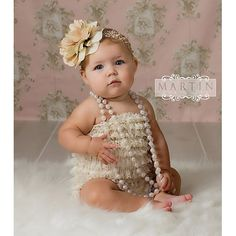 I am in LOOOOVE with these lace baby rompers! My little girl will have pictures taken in one of these!!! It's so classic with the pearls and the headband! LOOOOVE IT!