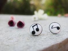 Handmade note earrings, music earrings, polymer clay earrigs, handmade notes, brass earrings, stud earrings, birthday present, music jewelry