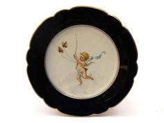 French Antique Porcelain Plate with Hand Painted Cherub