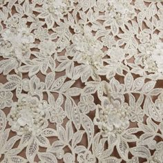 Off White Beaded Floral Bridal Lace