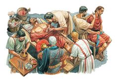 Looks to be a Roman Army surgeon.Roman officer standing by, soldier on table biting down on a piece of wood while it looks as if the surgeon is removing some kind of shrapnel from a wound. Ancient Rome, Ancient Art, Ancient History, Modern History, Art History, Ancient Roman Clothing, Roman Man, Greek Pantheon, Roman Legion