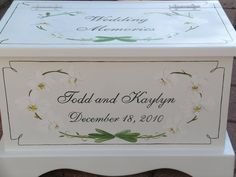 white orchid wedding keepsake chest box by staciedale on Etsy, $255.00