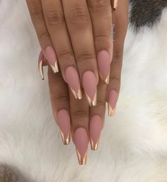 pink matted and shiny gold nails