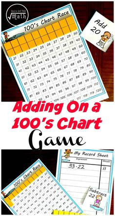 Adding tens on a hundred chart is a great way for children to visually adding ten. This fun game with two levels gets children adding tens and ones, and then moves on to adding two-digit numbers using the grid and manipulatives. Math Games, Math Activities, Tens And Ones, Math Help, Learn Math, Hundreds Chart, Adding And Subtracting, Homeschool Math, Homeschooling