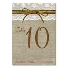 Ivory Lace & Rustic Twine Bow Burlap Table Numbers Table Card