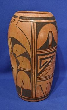 Pueblo Pottery, Hopi - 'Hopi Pueblo Indian Pottery, Large Cylindrical Vase' - Len Wood's Indian Territory