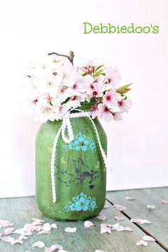 Create a beautiful spring jar from a spaghetti jar!  Simple tutorial!