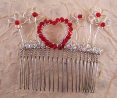 Red Heart and Silver Flowers Hair Comb