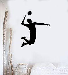 Wall Decal Vinyl Sticker Volleyball Game Sport Player Jump Ball Hit Feed (ed425)