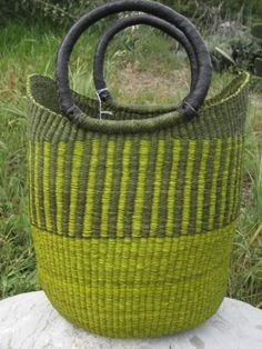 Basket from Ghana. I love the bright green.