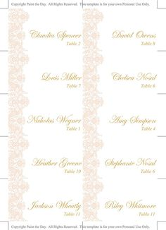 vintage wedding place cards template by paintthedaydesigns