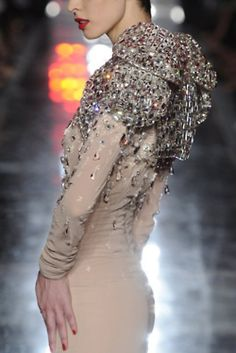 Nude dress with Jeweled encrusted shoulders