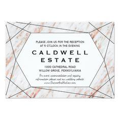 Rose Gold Marble Wedding Reception Insert Card