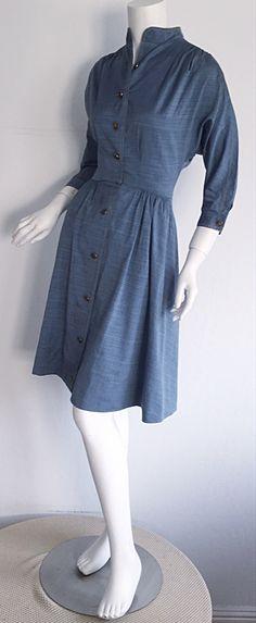 1940s Vintage B. Altman & Co. Denim Chambray Dress w/ Horse Buttons image 6