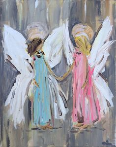 Angel Painting Guardian Angel Painting two by DevinePaintings